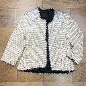THE LIMITED Knit Tweed Sequin Open Jacket Size XS